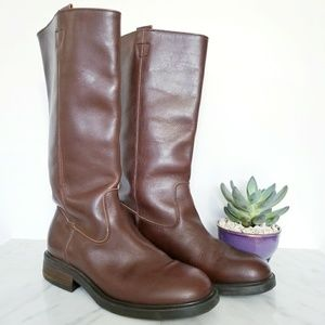 J. Crew Campus Tall Riding Boots Brown Leather